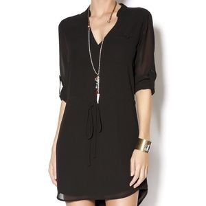 Baked Zebra Drawstring Waist Black Shirt Dress